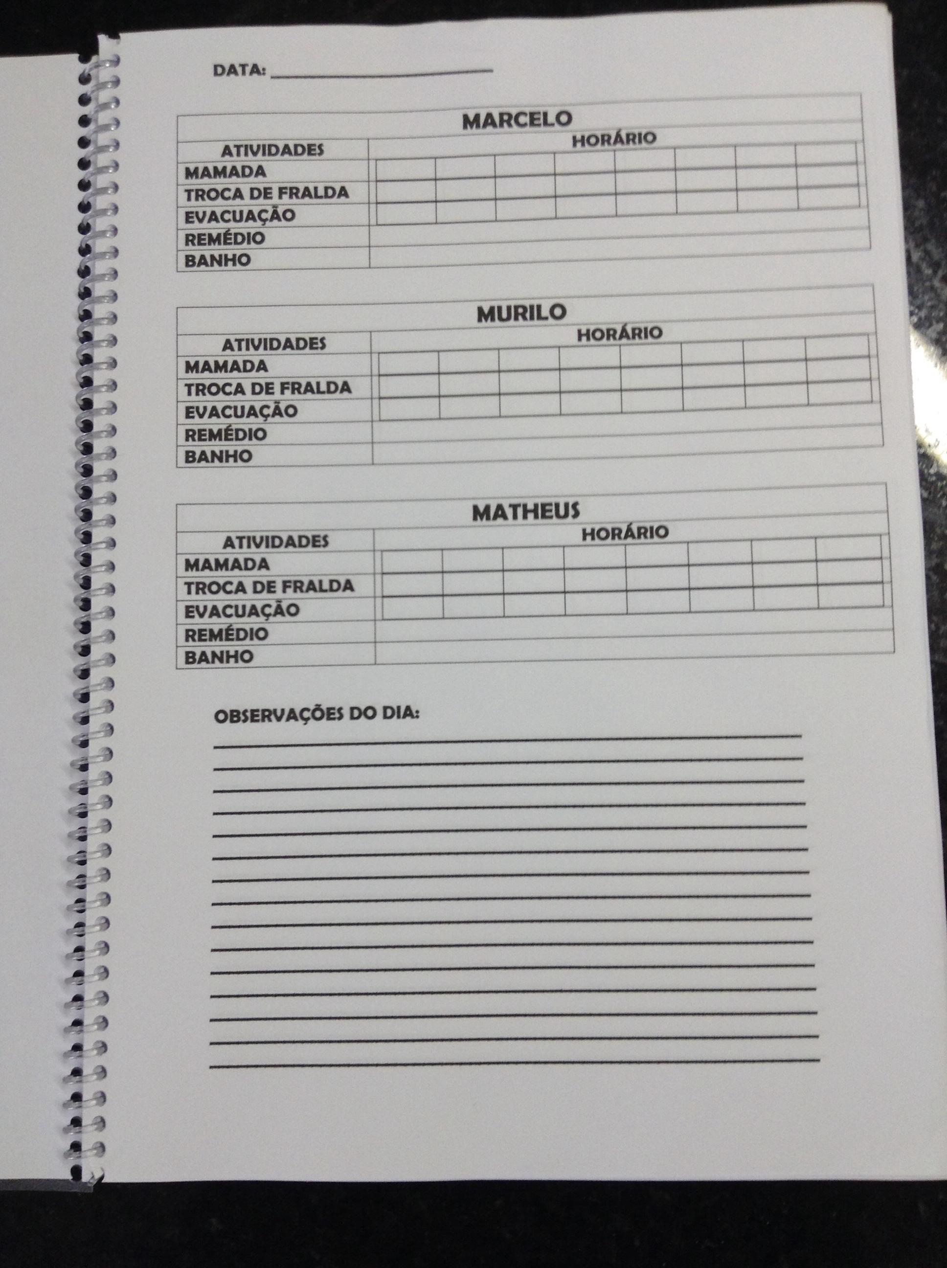 caderno de controle das atividades