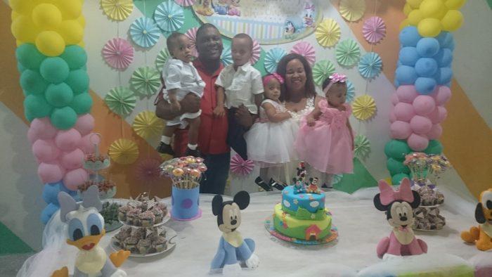 aniversário de 1 ano dos trigêmeos da Danielle